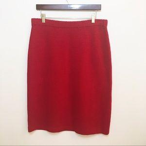 St. John Red Textured Skirt